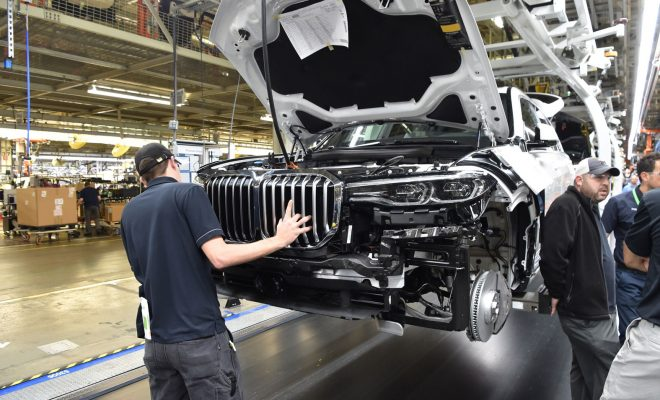 Production of the first pre-production models of the new BMW X7 Sports Activity Vehicle has commenced at the BMW Group Spartanburg plant, USA. So the countdown has started for the final twelve months leading up to the presentation of the production car at the end of 2018. Prior to this, the vehicle will undergo various tests under partially extreme conditions. At the plant, the production of pre-series models serves to secure and optimize future series production. Consequently, BMW X7 pre-production models already use the same assembly line as the BMW X5 and BMW X6 production models. An especially trained team realizes the series production process for new vehicle models at the plant and qualifies employees for future series production. The pre-production models built at the BMW Group Spartanburg plant are handed over to development department specialists, who require them for homologation, registration as well as for diverse testing purposes such as endurance tests and test drives under extreme conditions in the desert regions of Death Valley or on the ice and snow covered slopes of Scandinavia. The pre-production model is fitted with its camouflage wrap while still at the plant. The conspicuous striped patterns are designed to help conceal the new SAV's final look as far as possible. In Spartanburg, the BMW Group produces BMW X models for the USA and the global market. With record production figures of more than 411,000 units in 2016, Spartanburg is currently the BMW Group's largest plant worldwide. Around 70 percent of the vehicles produced in Spartanburg are exported to 140 countries throughout the world. According to the US Ministry of Trade, the BMW Group is therefore the largest vehicle exporter in the USA measured in export value. Maximum annual production capacity stands at around 450,000 vehicles. The BMW Group Spartanburg plant employs more than 9,000 people; a further 1,000 jobs are to be added by the year 2021. Each day, 1,400 BMW X3, X4, X5 and X6 models come off the assembly line at the Spartanburg plant; these will be complemented by a fifth series, the BMW X7, for which the Spartanburg plant is currently preparing.